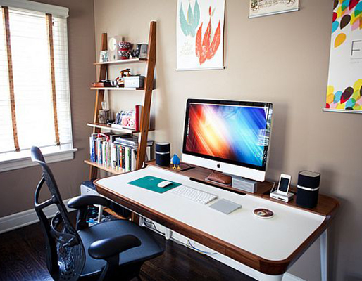 Home office with multitasking desk